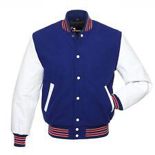 Royal Blue Lana Varsity Letterman Baseball Giacche Bianco Maniche in vera pelle