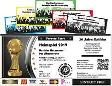 Einladungskarte als Fußballticket Heimspiel Geburtstag - Wunschtext, jedes Alter