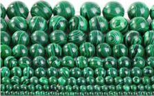 Un Brin 15'' Malachite Gemme Perle Ronde Pendantif Collier 4/6mm/8mm/10mm/20mm