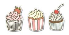 Cupcakes Set of 3 Yummy Car Vinyl Sticker - SELECT SIZE