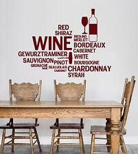 Vinyl Wall Decal Wine Bar Bottle Glass Restaurant Words Stickers (ig4711)