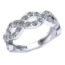 Genuine 1.15ct Round Diamond Ladies Bridal Infinity Half Eternity Ring 10k Gold