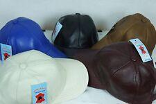 Adjustable 100% Lambskin Leather Baseball Cap Hat Biker Trucker Sports Visor NEW
