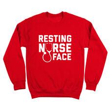 Resting Nurse Face Funny Medical Gift Red Crewneck Sweatshirt