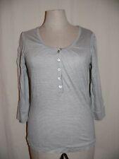 JENSEN WOMEN elegantes 3/4 Arm Streifen Shirt 100% Viskose Knopfleiste grau NEU