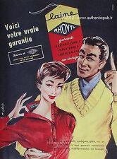 PUBLICITE VETEMENT RHOVYL LAINE ILLUSTRE ET SIGNE BLONDE DE 1956 FRENCH AD PUB