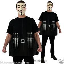 CL394 V for Vendetta Mens Costume Shirt + Mask Fancy Dress Up Halloween Party