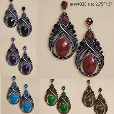 antique tone rhinestone acrylic tear drop fashion earrings erw4205