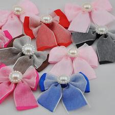 20pcs Grosgrain/organza ribbon bows with pearl wedding appliques Upick A85