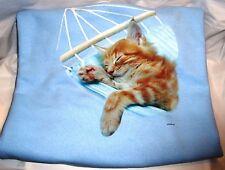 """""""Cat in the Hammock"""" - Gildan (Blue) Fleece Long sleeve Crew Neck Sweatshirt"""