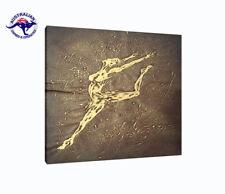 THE GOLDEN DANCER MODERN SILICONE ART HANDMADE ON CANVAS-2 SIZES WOODEN FRAME