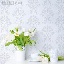 Damask pattern stencil for walls and furniture stencilling The Stencil Studio