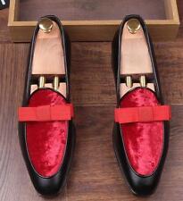 Mens Velvet Bowtie Dress Wedding Shoes Slip On Party Wingtip Dress Loafers Ske15
