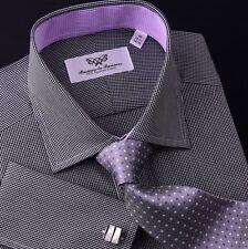 Black Check Dress Shirt Designer Business Fashion Luxury Spread Collar A+ Lining