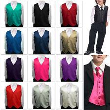 Toddler Kids Boys Children Satin Vest Waistcoat For Formal Tuxedo Suit