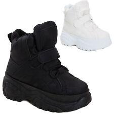 Scarpe donna sneakers alte zeppa flatform eco pelle stivaletti sportivi Q-9
