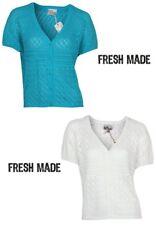 Fresh Made Damen Strick Jacke   V-Ausschnitt Knopfleiste Party Clubwear Outfit