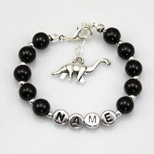 Personalised Girl baby Gift Charm Bracelet son dinosaur made for you black