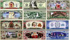 LOT X 6 BILLETS de Collection PERE NOËL! MILLION DOLLAR Sapin Neige Hiver Cadeau