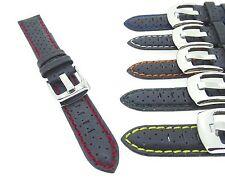 Cuero De Colores Perforadas De Alta Calidad Acolchado reloj banda correa 18,20,22,24 mm