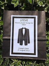 Personalised Wedding Gift Bag Black or White Best Man Usher Page Boy Husband Dad