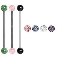 New Surgical Steel Glitter Ball Industrial Scaffold Piercing Bar Barbell 16g