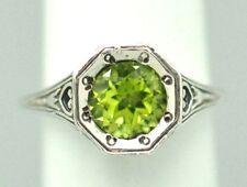 Peridot Art Deco Stile Anello 925 argento antico Style Sterling Argento
