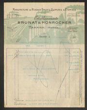 """TARARE (69) USINE de RIDEAUX Brodés """"BRUNAT & MONROCHER"""" illustré TRAIN sur PONT"""