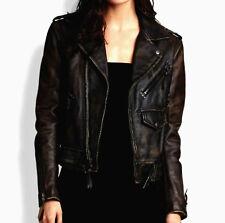 Women Ladies Designer Moto Biker Distressed Black Vintage Leather Jacket