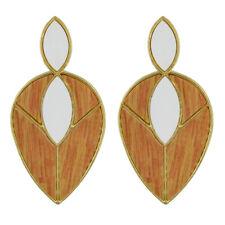 Women Wood Double Waterdrop Pendant Drop Earrings Jewellery Stylish Dangler
