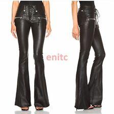 New Women's Bell Bottoms Pu Leather Wide leg Pants Slim Fit Punk Zipper Trousers