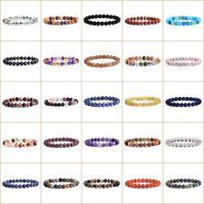 "8mm Unisex Mens Womens Spot Fashion Round Gemstone Beads Stretchable Bracelet 7"""