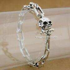 925 Sterling Silver Handmade Skull Bone Mens Biker Rocker Punk Bracelet 8W008B