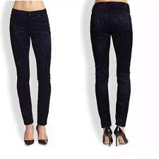 Seven 7 For All Mankind Malhia Kent Velvet Skinny Jeans Black Flocked 24-28