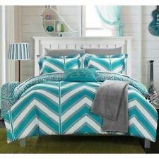Twin Xl Full Bed Bag Aqua Blue White Chevron Geometric 10 pc Comforter Sheet Set