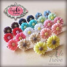 Vintage Style Cute Small Daisy Flower Stud Earrings. Various Colours.
