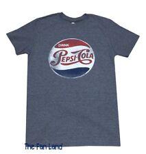New Pepsi Cola Logo Soda Heather Blue Retro Mens Vintage T-Shirt