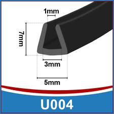 Canale U in GOMMA Bordo Bordatura   flessibile Trim Seal   si adatta 1mm a 3mm   Nero