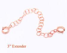 "3"" Solid Sterling Silver PINK / ROSE Round Link Extender Chain Necklace Bracelet"