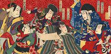 Kabuki Actors 30x44 Japanese Print by Kunimasa Asian Art Japan Warrior