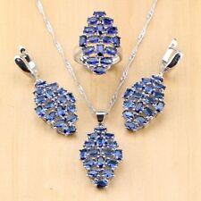 Cubic Zirconia Women 925 Sterling Silver Jewelry Sets Earring/ Pendant/ Necklace