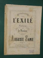 """Partition Violon acc. Piano """"L'Exilé"""" Op. 2  Auguste SAMIE"""