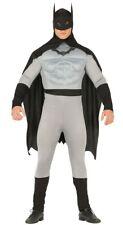 Adult Grey Mens Batman Costume Superhero Muscle Fancy Dress Halloween Sizes M/L