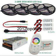 5M-25M 5050 RGB 300Led Strip light IP20/IP65 + RF controller +Power adapter kit