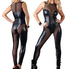 Body Zip Overall Jumpsuit Catsuit offen Wetlook Glanz schwarz XS S M L XL Damen