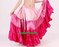 Pink & Deep Pink Satin 12 Yard Tiered Gypsy Skirt Belly Dance Ruffle Flamenco