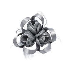 Pince Broche Mariage Tri Fleurs Plumes Rond Ruban Satiné (Bleu, Rose, ... NEUF