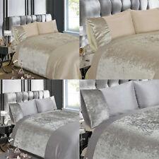Velvet Crushed Velvet Duvet Cover/Quilt Cover Set Bedding Silver / Natural
