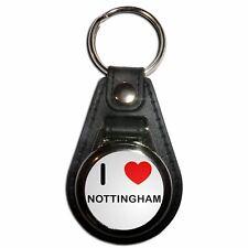 I Love Nottingham - Plastic Medallion Key Ring Colour Choice New
