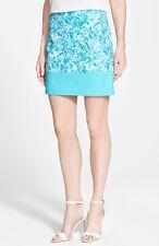 Michael Kors Turquoise Blue Paisley Colorblock Stretch Cotton Mini Skirt $69.50